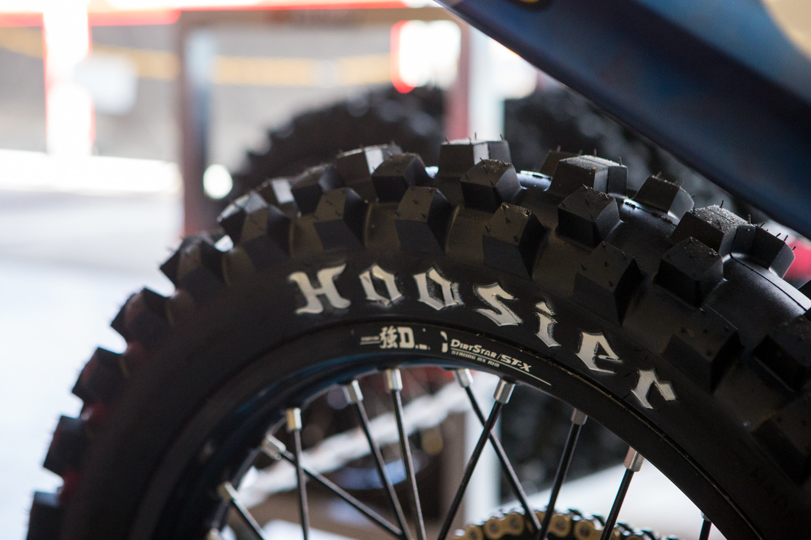 There's some very unique rubber aboard, as Hoosier is working with the team to develop tires. From our brief understanding, Hoosier is focused on offering a race level tire, not quite a tire for general play riding use. Expect something like a Dunlop proto/race tire, but for the public.