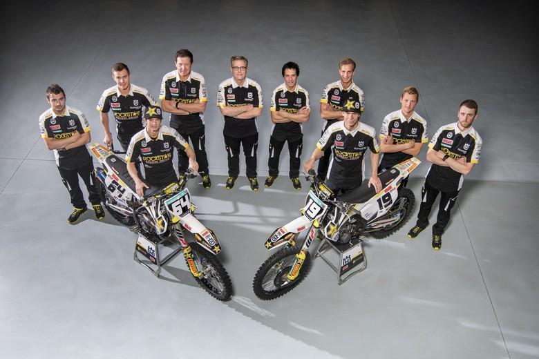 Group photo of Jacky Martens' race crew inside the workshop in Lommel, Belgium.