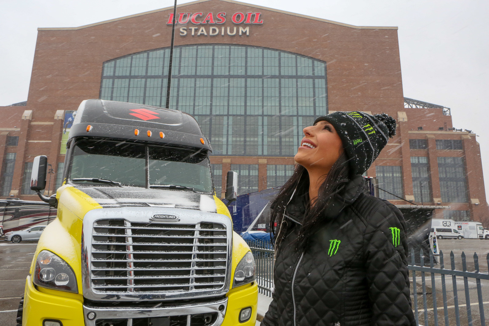 Kelly Cleland checking out the snow in the morning before practice got started. With inclement weather forecast for the day, the pits here were closed. Riders and teams either hunkered down in their rigs (with no awnings set up), or set up pits in a large room in the stadium.