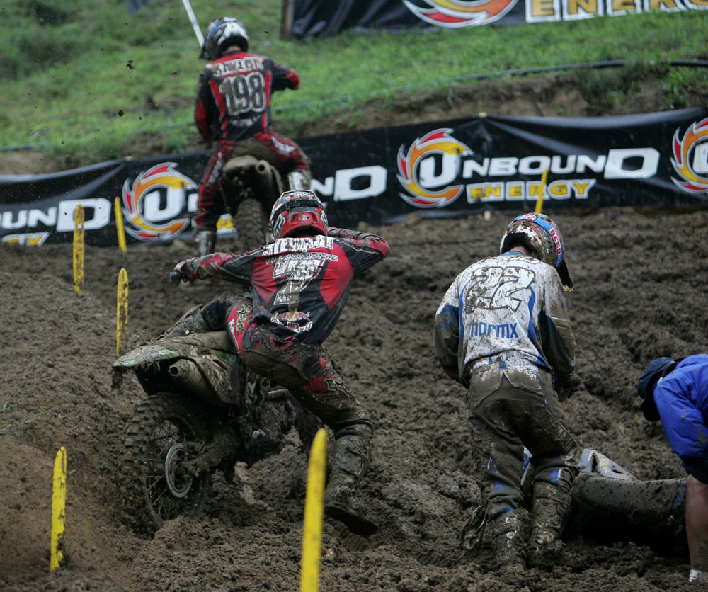 In this section, one major rut formed, which consumed Chad Reed's bike. James Stewart tried going around...
