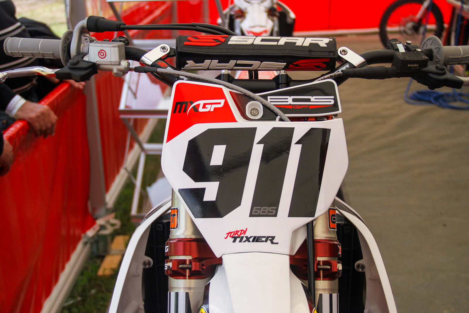 Jordi Tixier's bike is on display, but not on the track quite as of yet.
