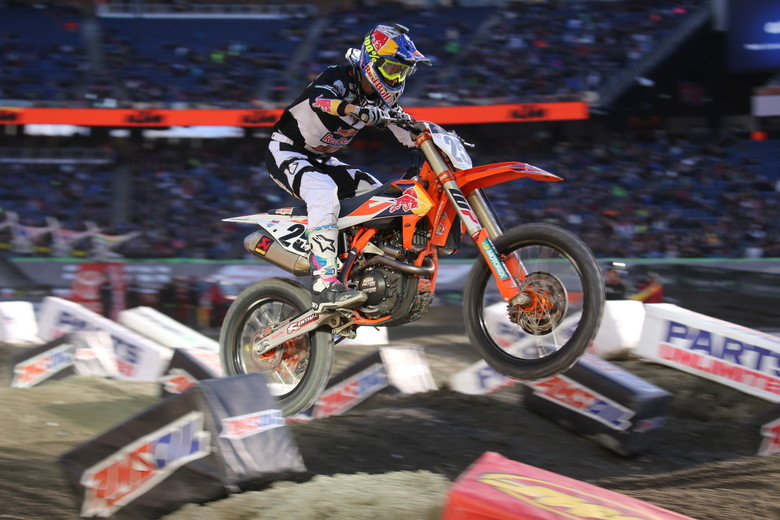 Marvin Musquin led most of the race,  got passed, and then made a move on Eli Tomac on the last lap to take the win.