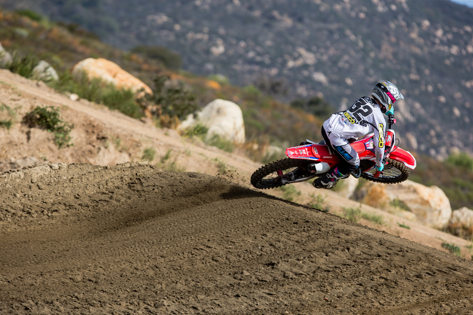 Christian Craig was testing with the HRC crew as he's riding Cole Seely's CRF450R all summer. On the Geico team Craig ran Showa but for the 450 team he's tested both and will instead run KYB.