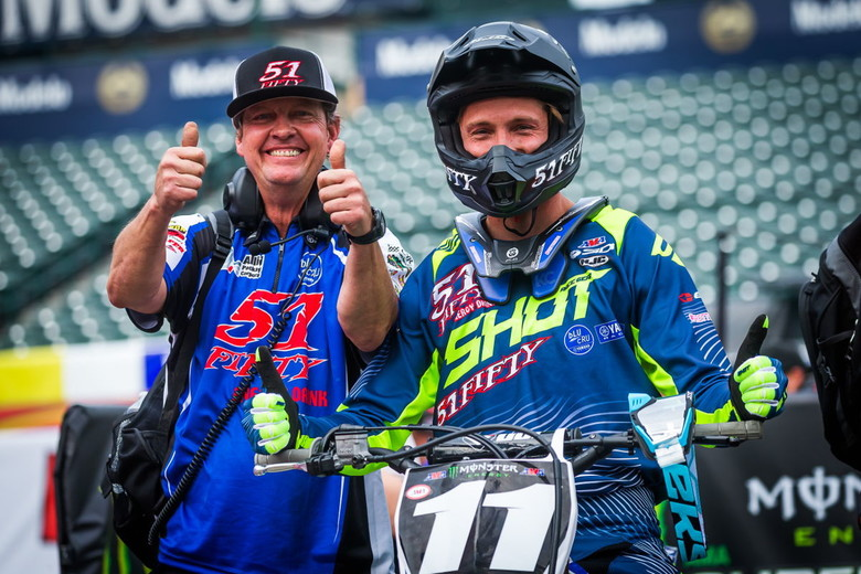 Thumbs up for a strong duo: Kyle and long-time mechanic Brent Myron