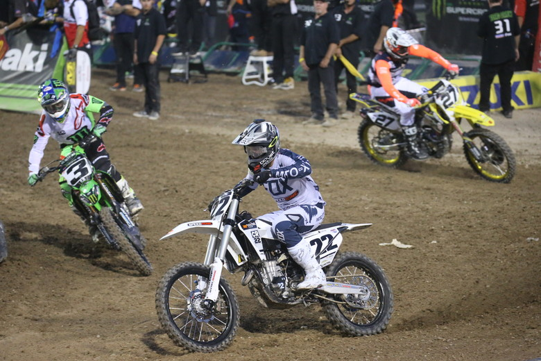 Chad Reed led the first 450 heat race for a few laps...