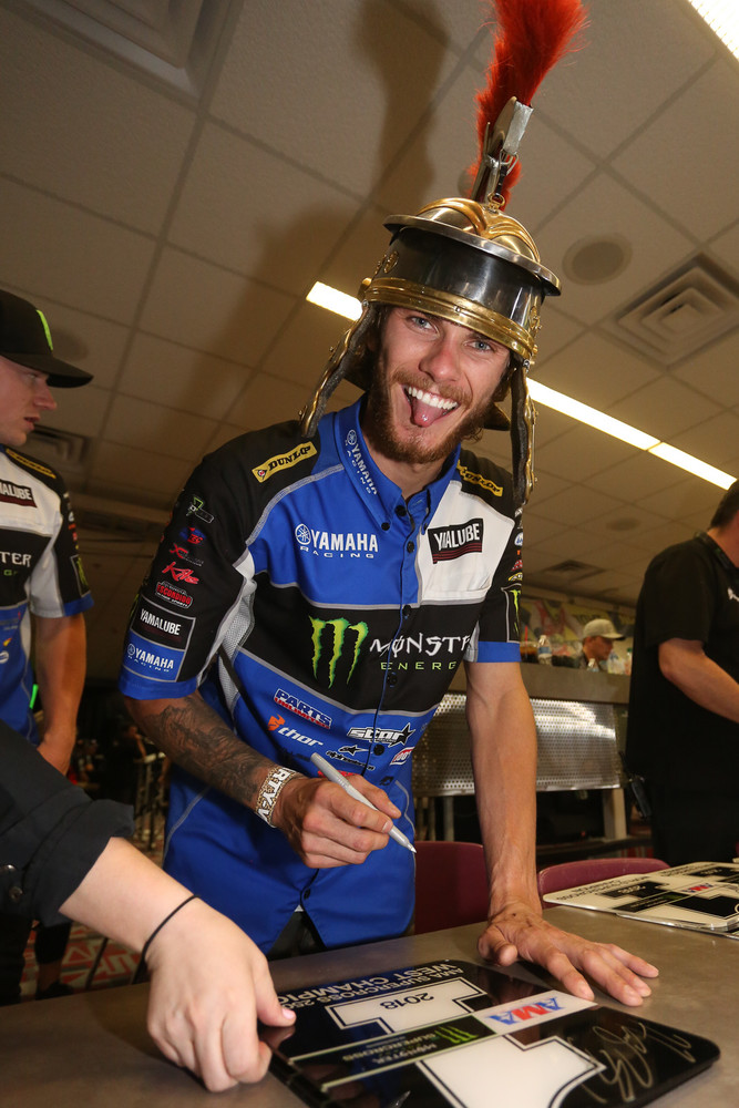 Aaron Plessinger was having plenty of fun, rocking a gladiator helmet for the post-race press conference.