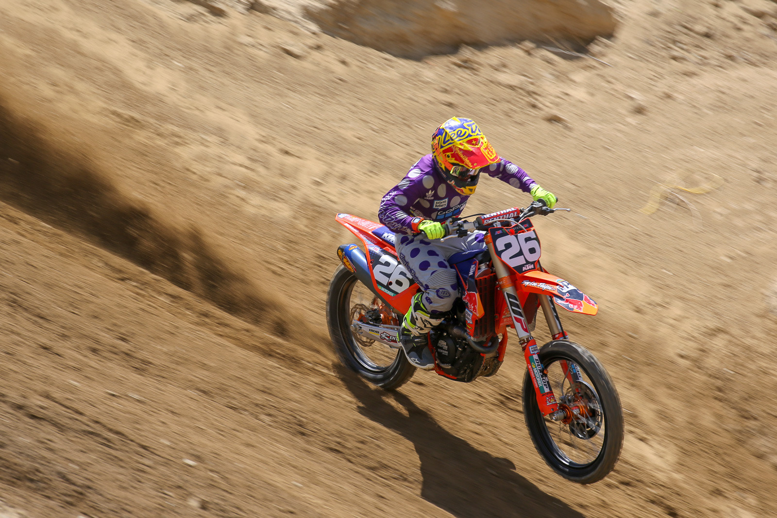 Alex Martin has been on the sidelines throughout the Supercross season, and it was good to see him getting after it on the course at Glen Helen. I don't know exactly what it is in this shot, but his position on the bike here kind of reminds me of Jeff Ward back in the day.