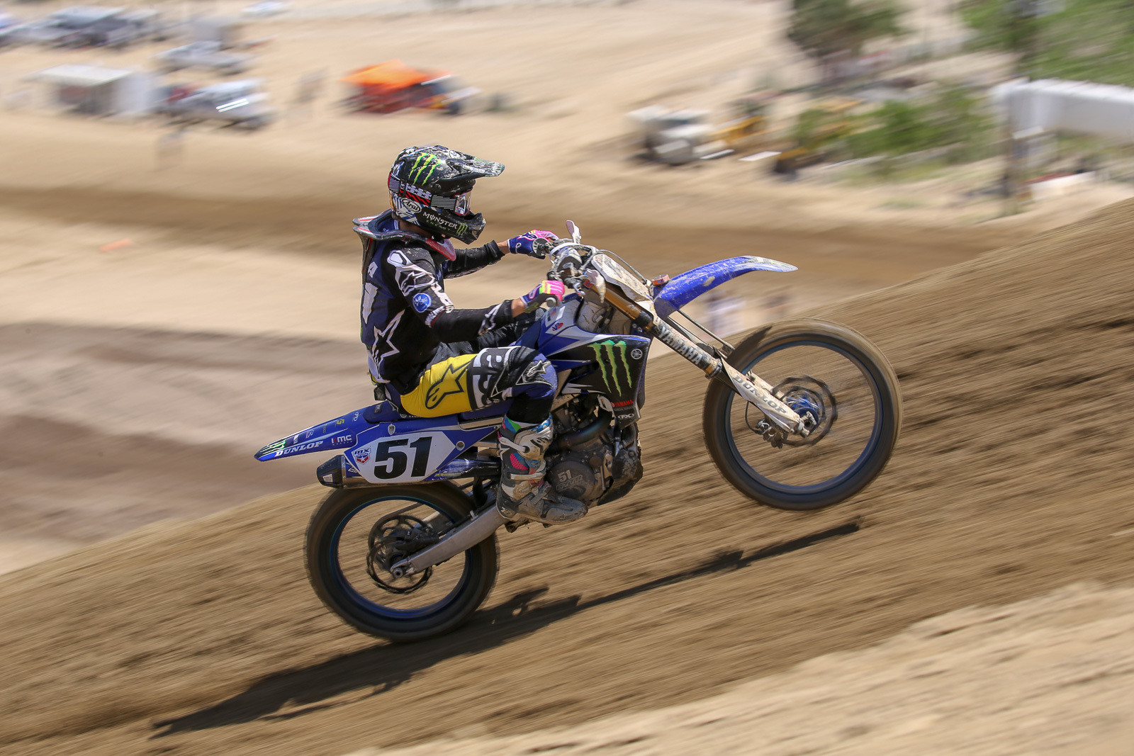 Justin Barcia making the big Yamaha bark on one of the Glen Helen uphills.