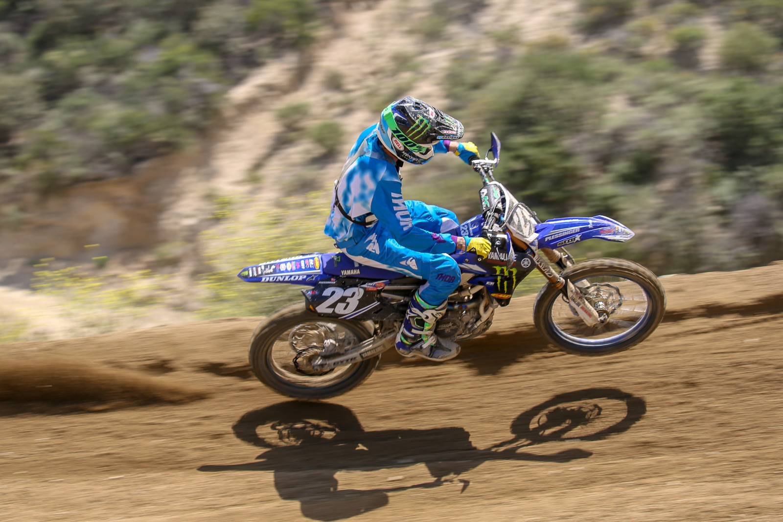 Freshly-crowned 250 West champ Aaron Plessinger was looking frisky on the track.