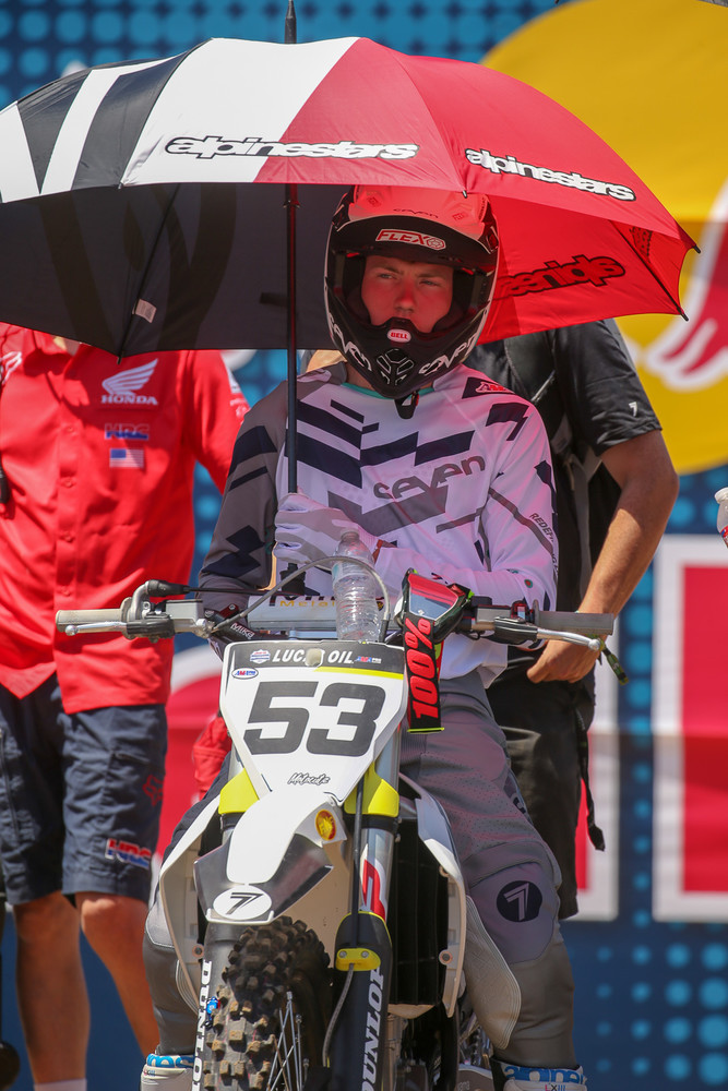 Bradley Taft had a good day, hovering around the top ten in both motos, and grabbing a tenth overall. That's an extremely solid privateer effort.
