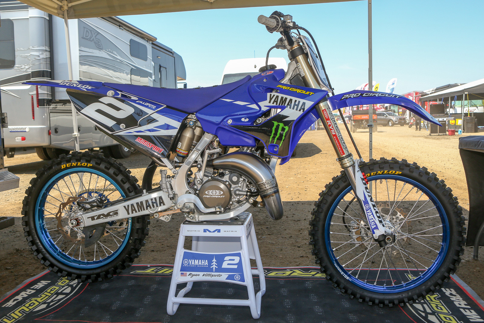 Ryan Villopoto has always had strong ties with Pro Circuit, and that continues in conjunction with his latest Yamaha deal. That includes things like having them build up this YZ125 for the All-Star race (Mitch gave it the full factory treatment), and the fact that Ryan has a small corner of the shop to use as a workspace.