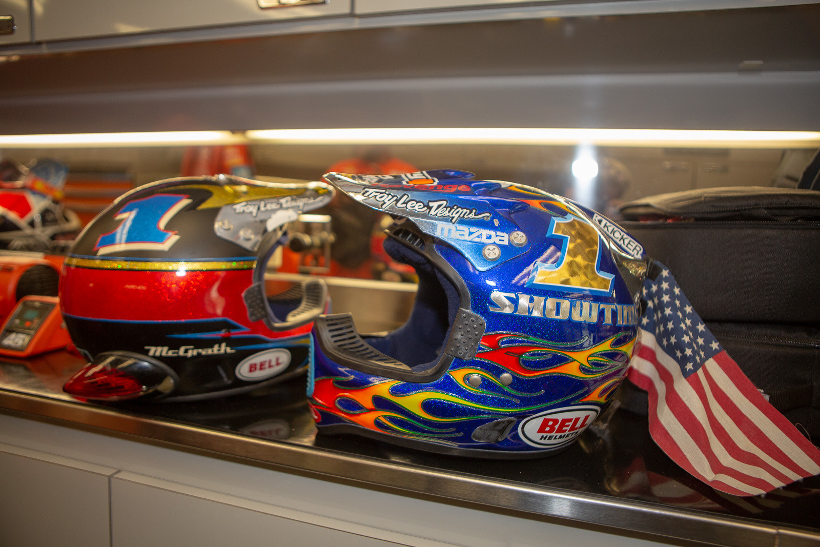 We spotted these vintage Jeremy McGrath helmets in the Troy Lee Designs/Red Bull/KTM rig, before they made it out to a Red Bull Straight Rhythm display.