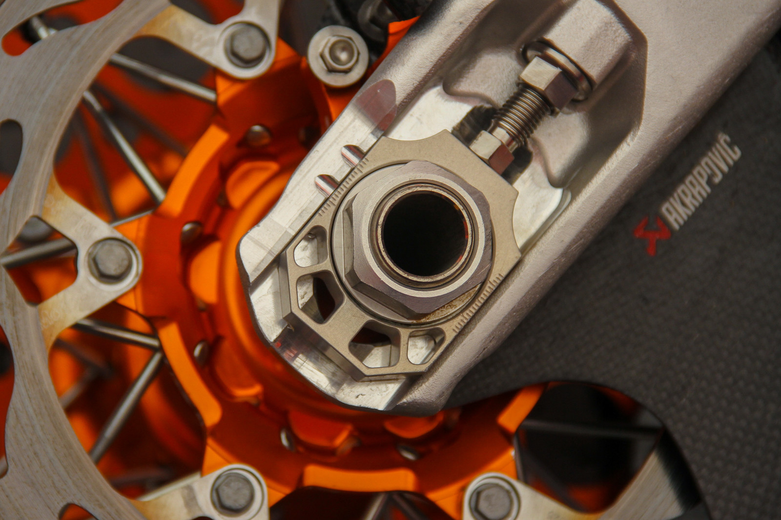 KTM's billet factory axle blocks sure offer more adjustment marks then we've seen. Seriously, look at them all.