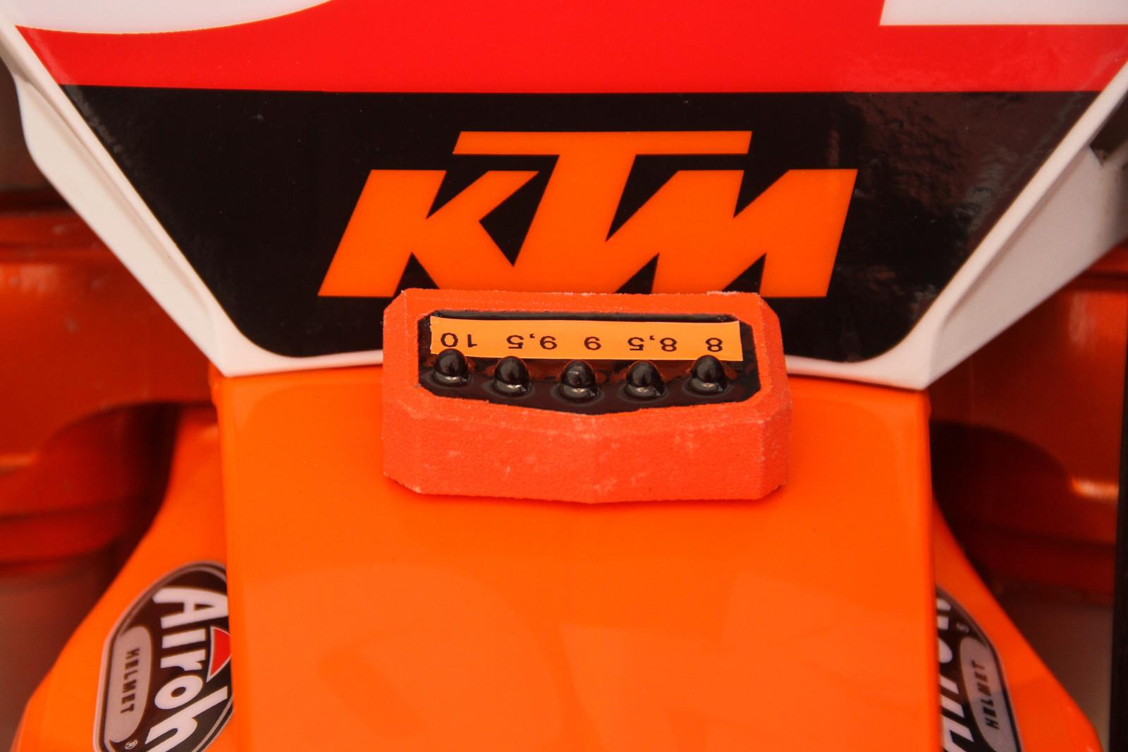 KTM's RPM start counter aboard their 450 SX-Fs. 8,000 PRM, 8,500 RPM, 9,000 RPM, etc.