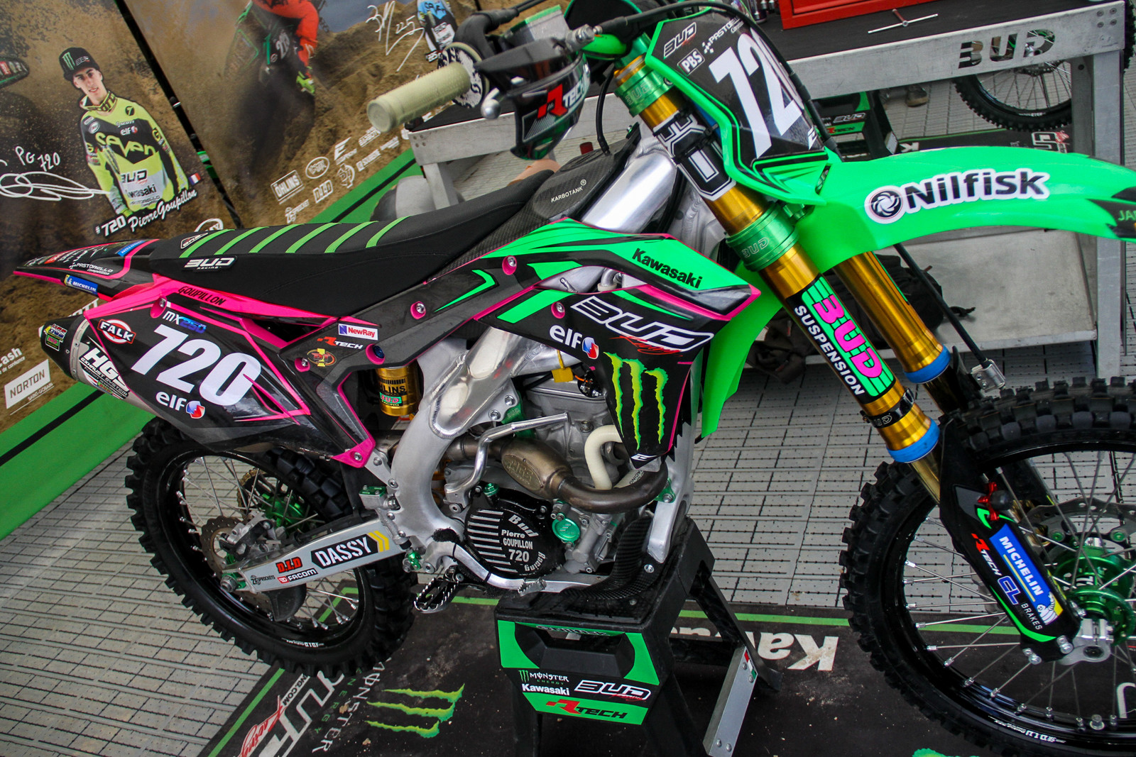 BUD Racing Kawasaki no longer compete in MX2, instead focusing on the Europe leg with the EMX250 class. Per usual, their bikes are covered in house brand parts.