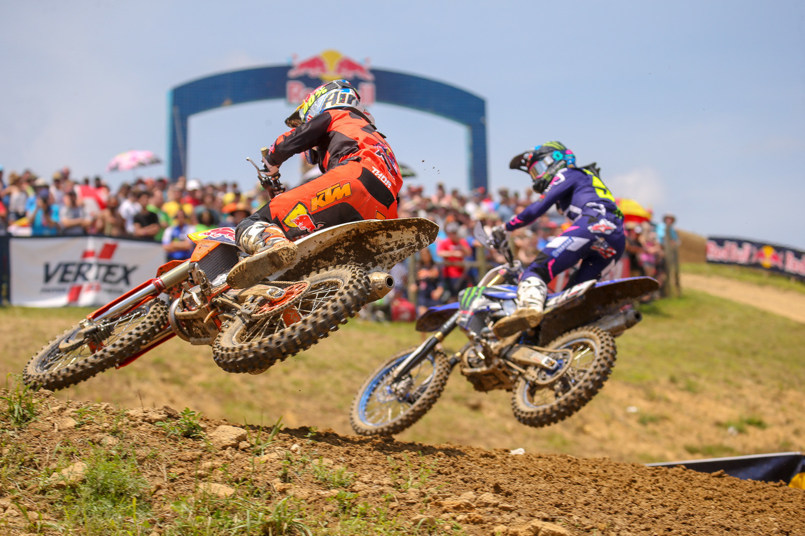 Justin Barcia slipped into second spot early in moto one, but after a little jockeying back and forth, Marvin Musquin got by.