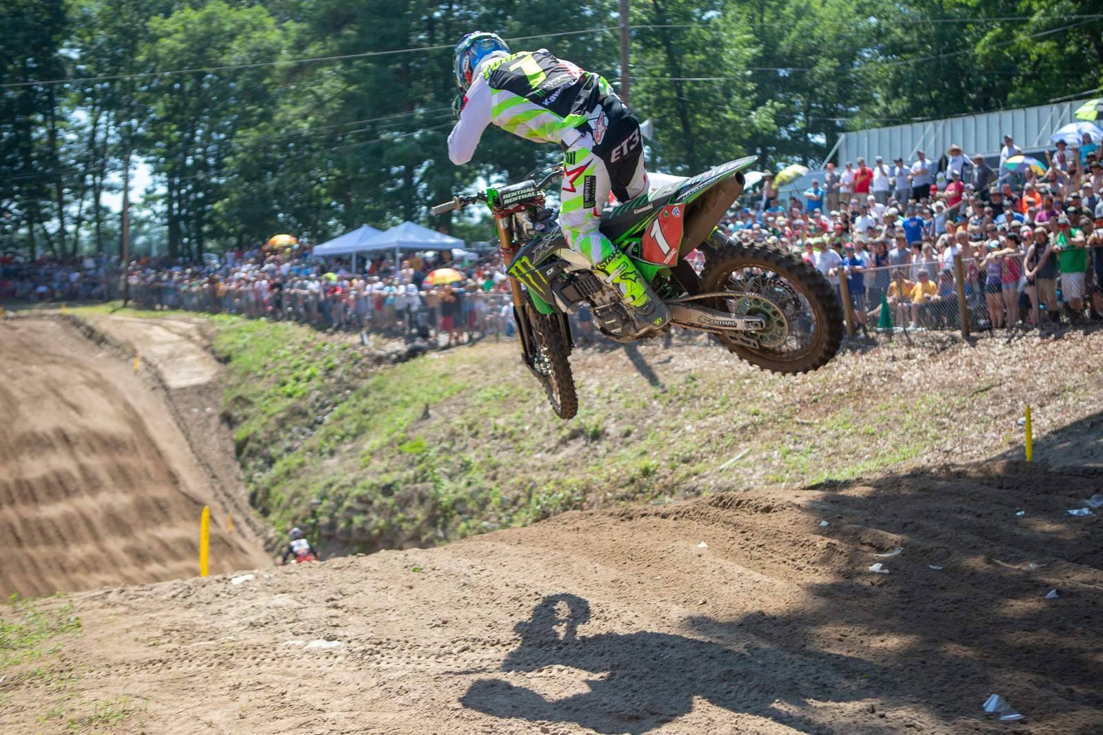 Eli Tomac was on a mission to work his way to the front. He got there...with two laps to go. But it was a good battle between him and Marvin Musquin.