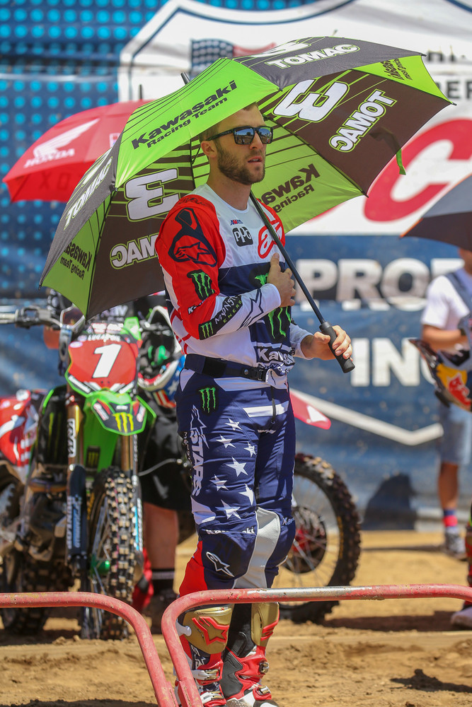 Everyone's got a serious case of the red, white, and blue for RedBud. Eli Tomac's gear was on point during the National Anthem.