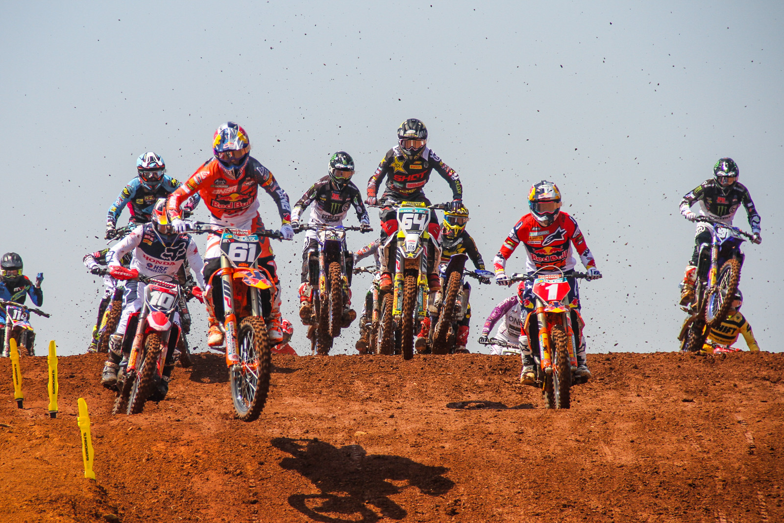 There's always a lot of orange or white at the start of a MX2 race.