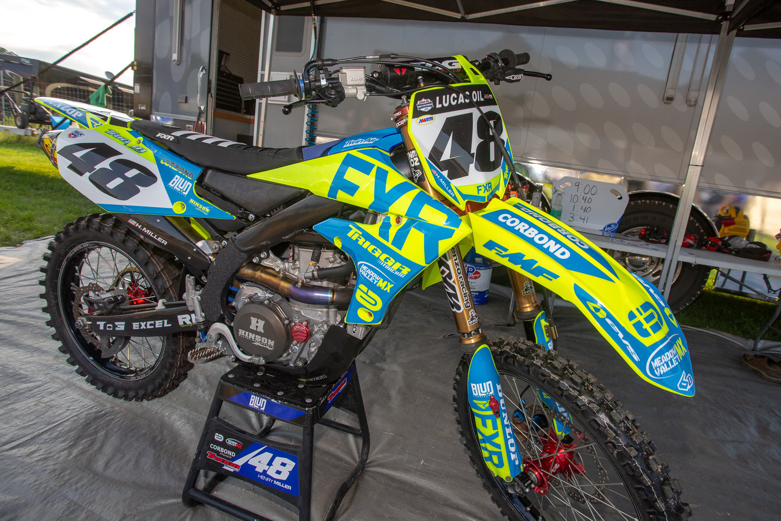 Every year Henry Miller and FXR do something special for his bike, and this year was no exception. The plastic and graphics on his Yamaha matched up nicely with his gear.