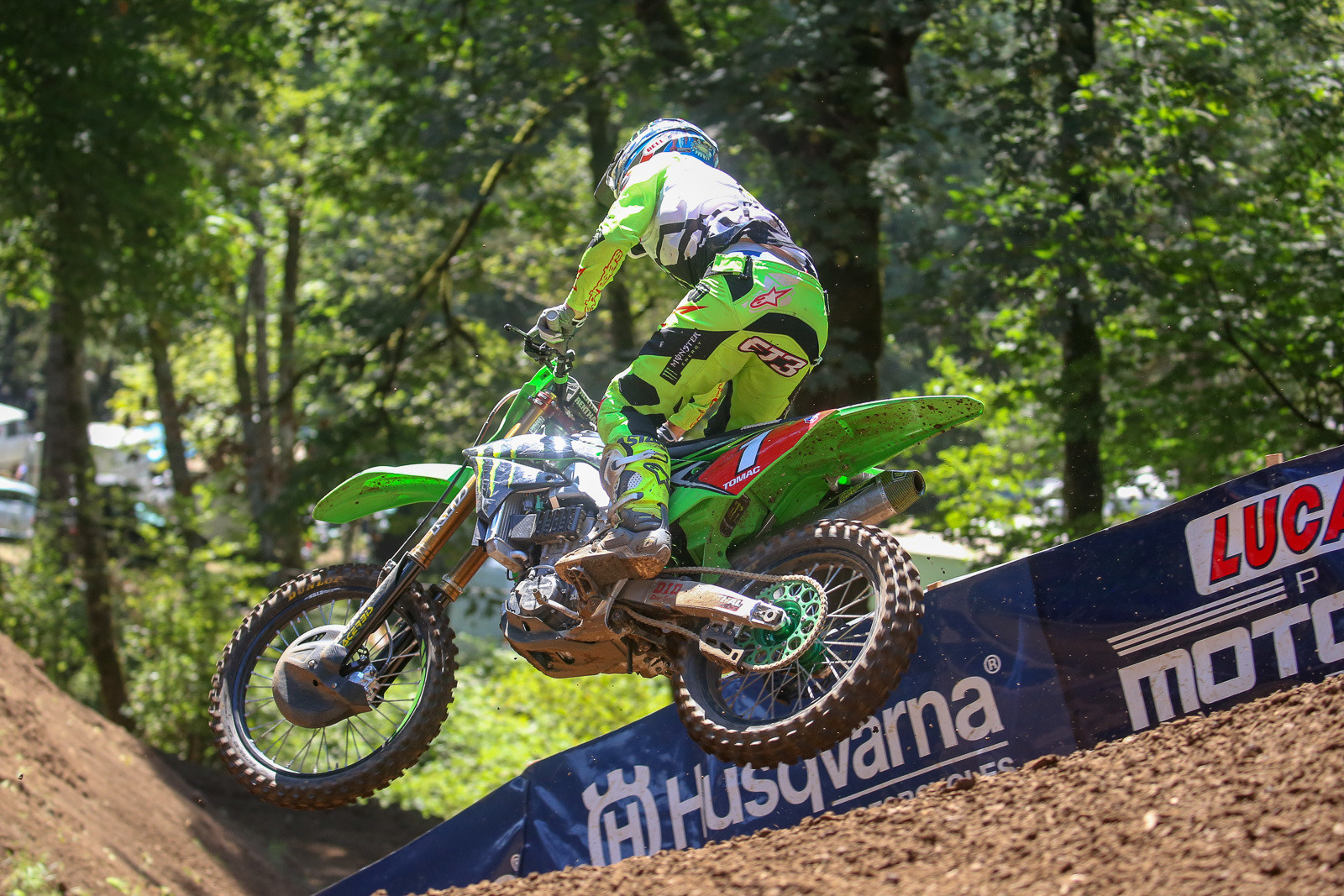 Eli Tomac worked his way past Hill and Bogle, then roosted away for another win and 25 points in moto one.