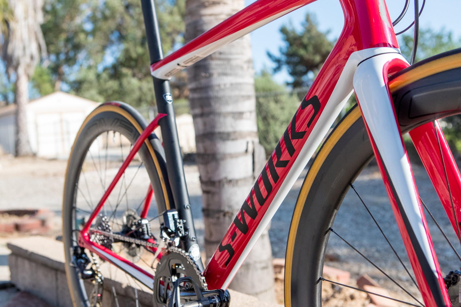 "The usual Specialized branding is swapped for the ""S-Works"" logo to signify a different level/make-up and carbon used throughout the frame."