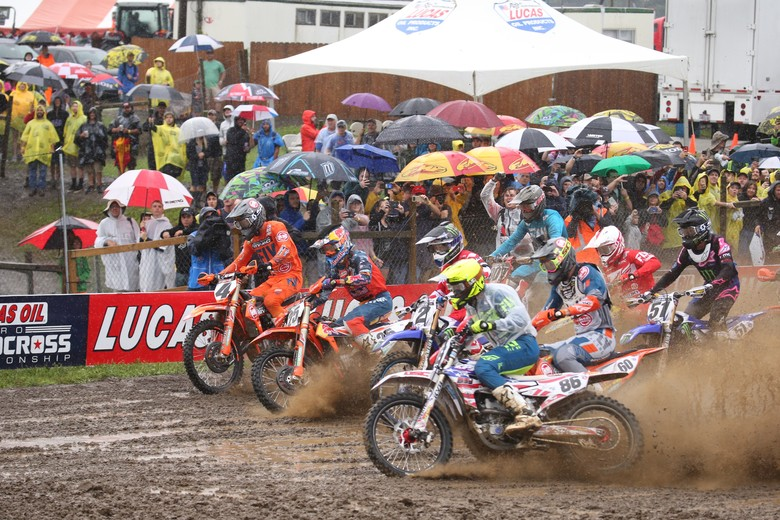 The start of each moto was crucial for guys trying to stay clean as long as possible.
