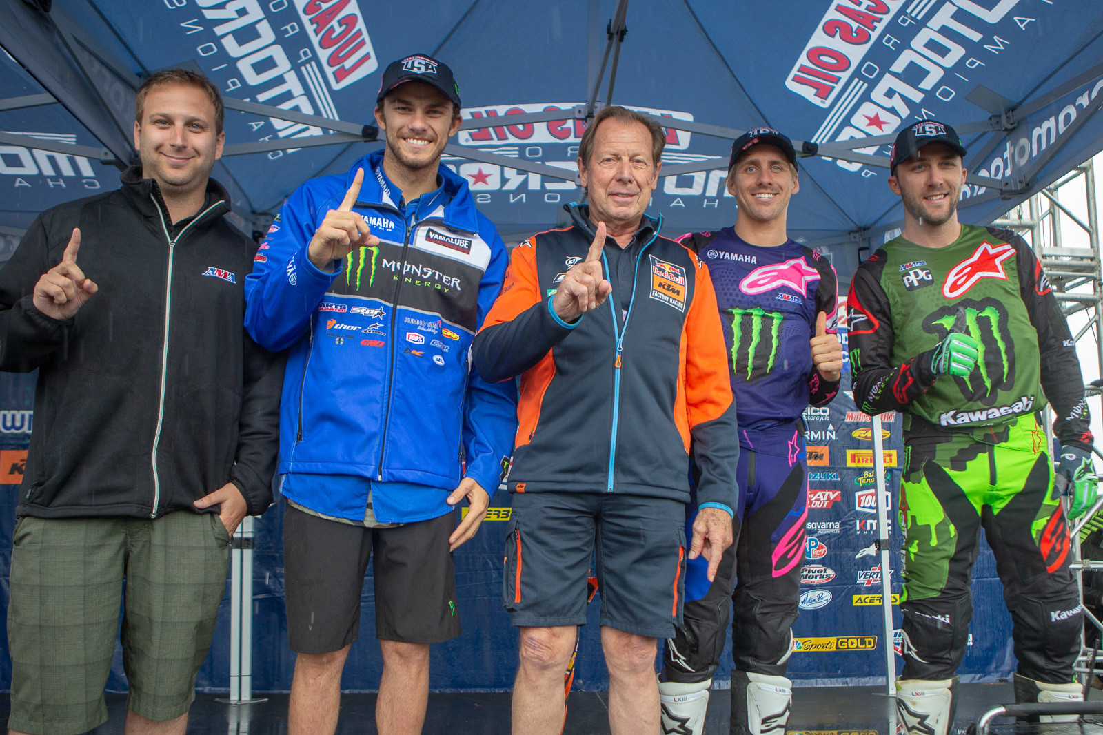 From left to right, the AMA's Michael Pelletier, Aaron Plessinger, Roger DeCoster, Justin Barcia, and Eli Tomac.