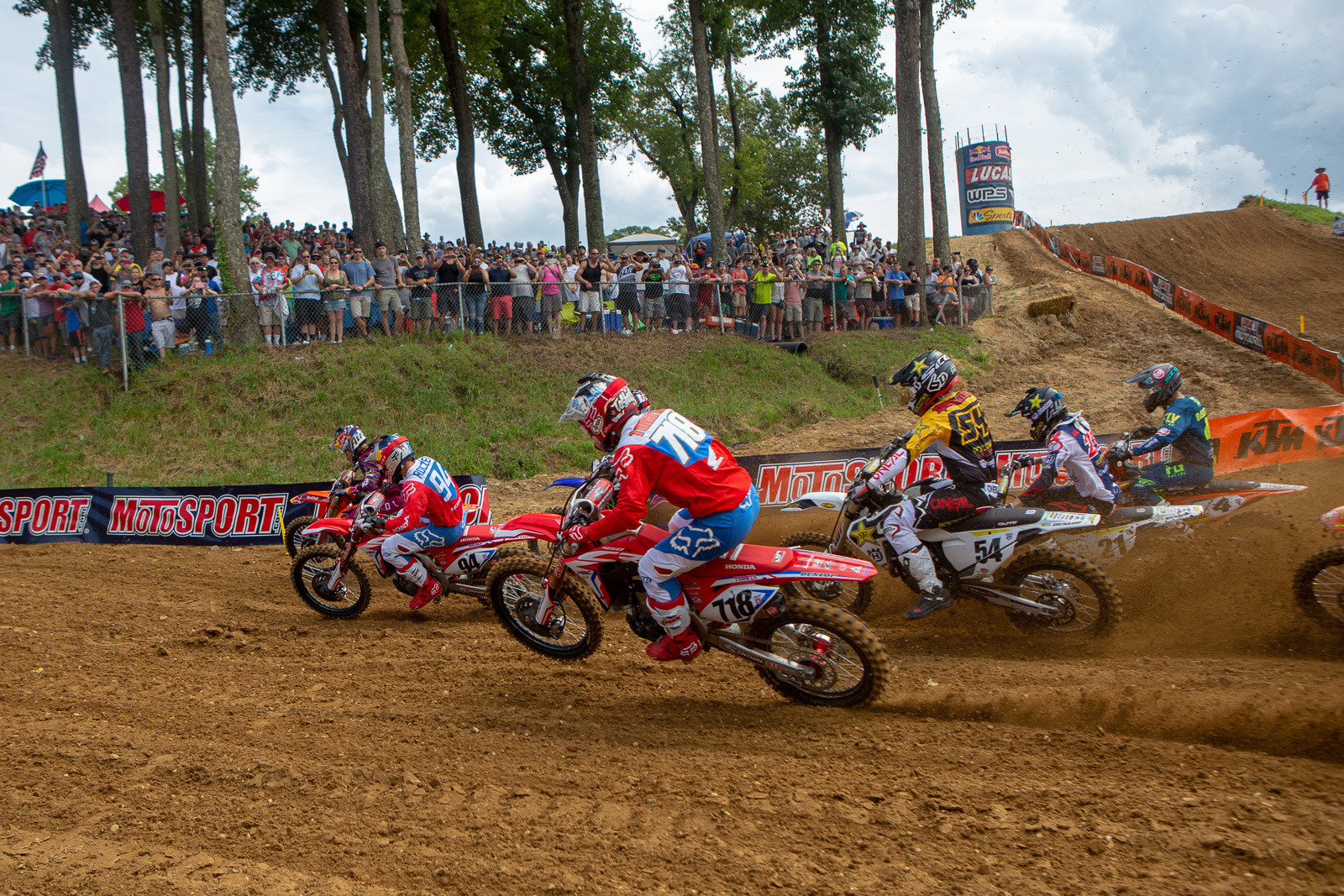 Oh yeah, we always love coming back to Budds Creek. While the question of whether or not it'll be around on each year's schedule seems to come up on an annual basis, there's no doubt that it's a great track, and provides for some equally great racing.   Marvin Musquin grabbed the holeshot to start the 450 action, tailed by Ken Roczen and Justin Barcia.