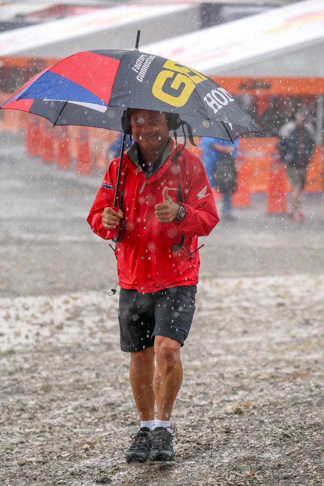 The riders and crews awoke to a thunderstorm that moved in over the area, dumping a bunch of rain in a short amount of time. It was a great day for ducks...and GEICO Honda Team Manager, Dan Betley.