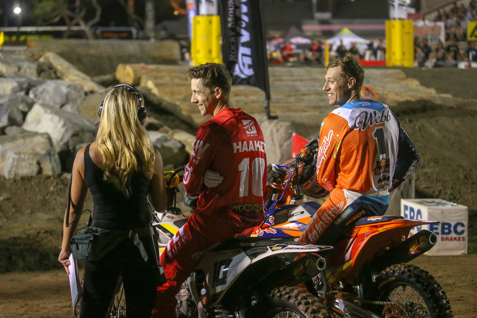 All smiles. Colton Haaker and Cody Webb have quite the on-track rivalry, but they were all smiles before the start of the night's action.