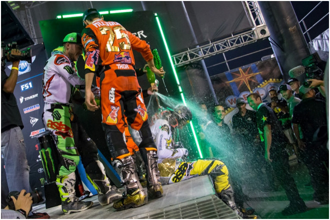 Jason Anderson secured his first-career 450SX Class Championship at the final round of the 2018 season on May 5, which also marked the first 450SX Class Championship for Rockstar Energy Husqvarna Factory Racing.