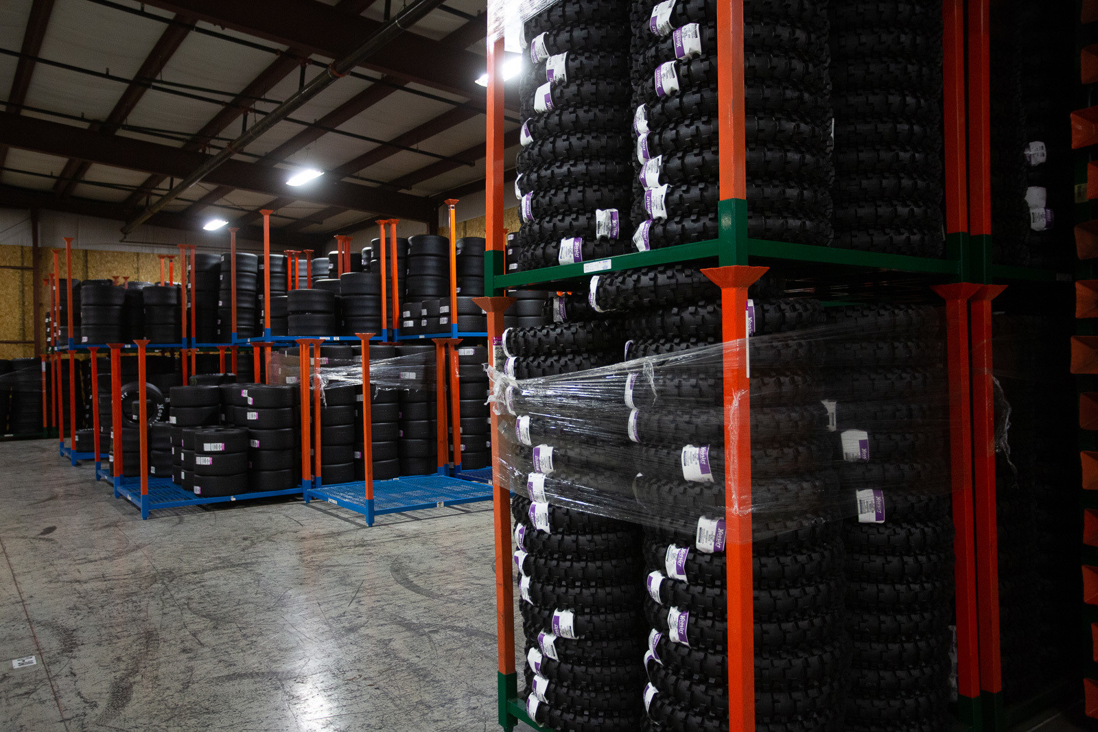 Touring through the warehouse, you'll find everything from kart tires to big sprint car tires and drag slicks...and in compounds from super-soft and sticky to very hard. No matter what they are, they're all hand-built in the U.S.