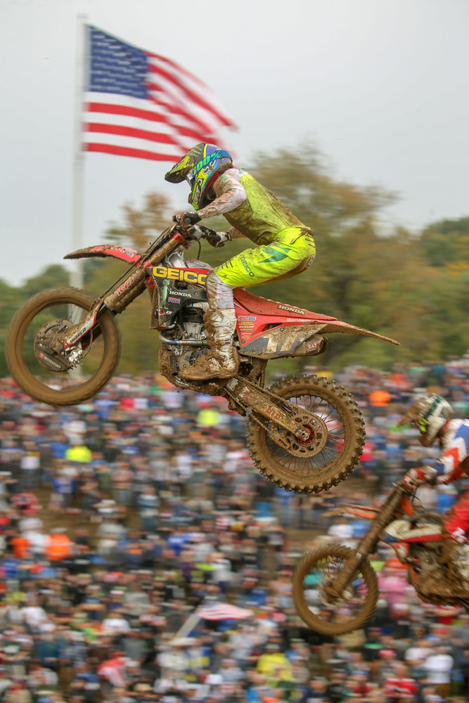 Hunter Lawrence finished second in this moto. Not bad, considering he'd only had a couple days on the GEICO Honda.
