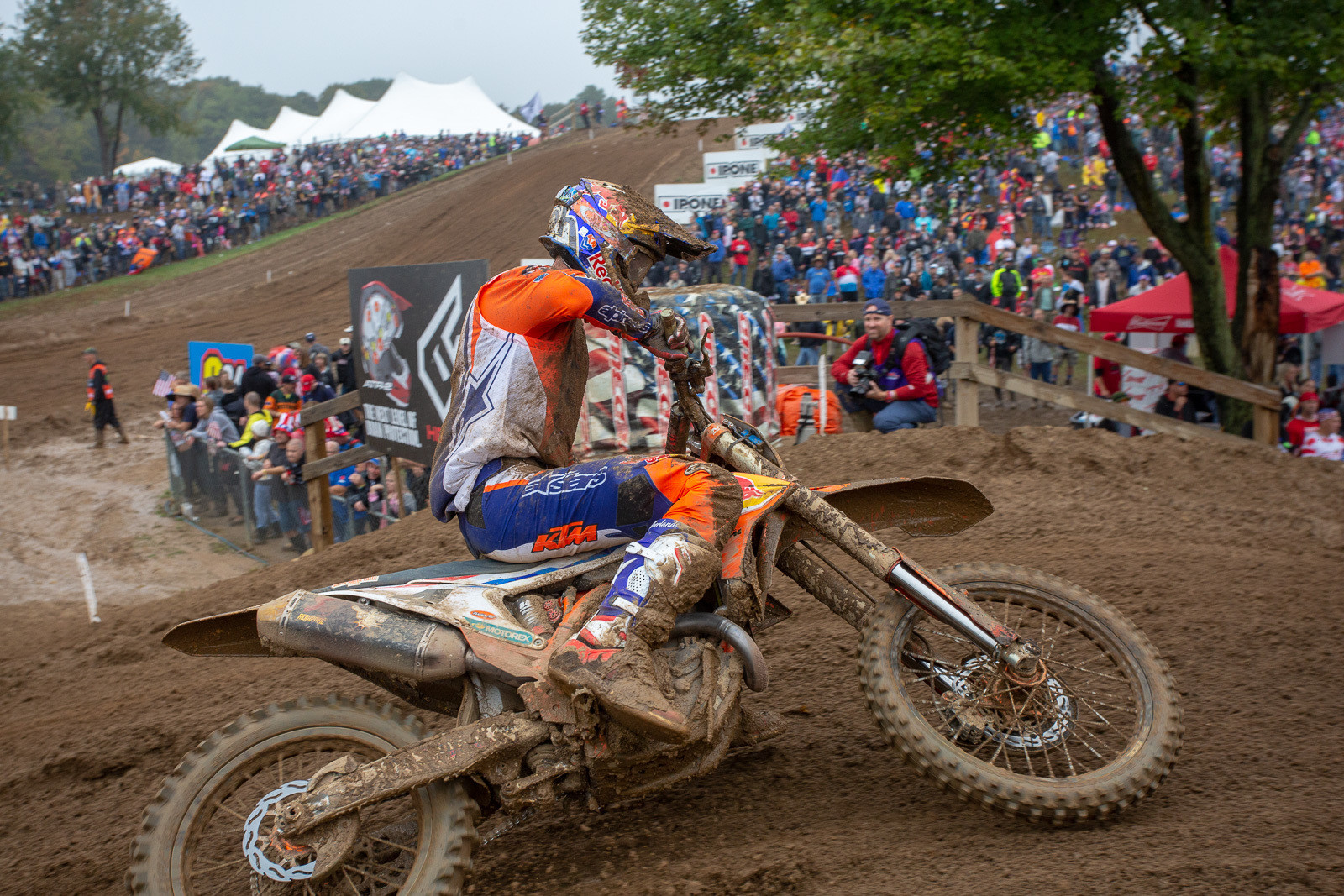 Jeffrey Herlings took over the top spot about halfway through the moto, and cruised to a first moto win.
