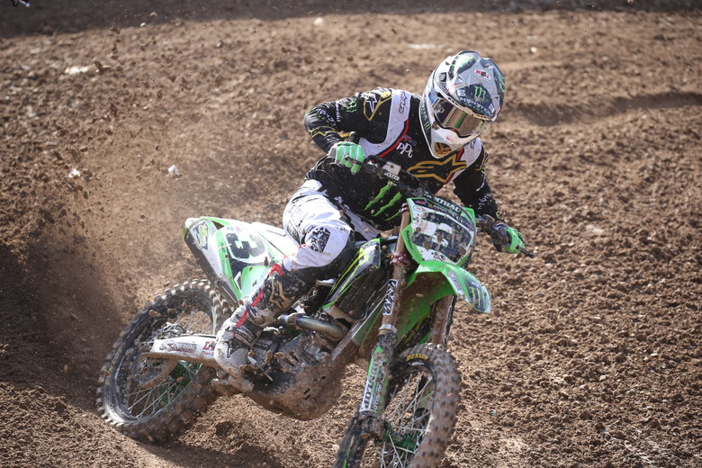 Eli Tomac looks to be getting along well with the 2019 Kawasaki.