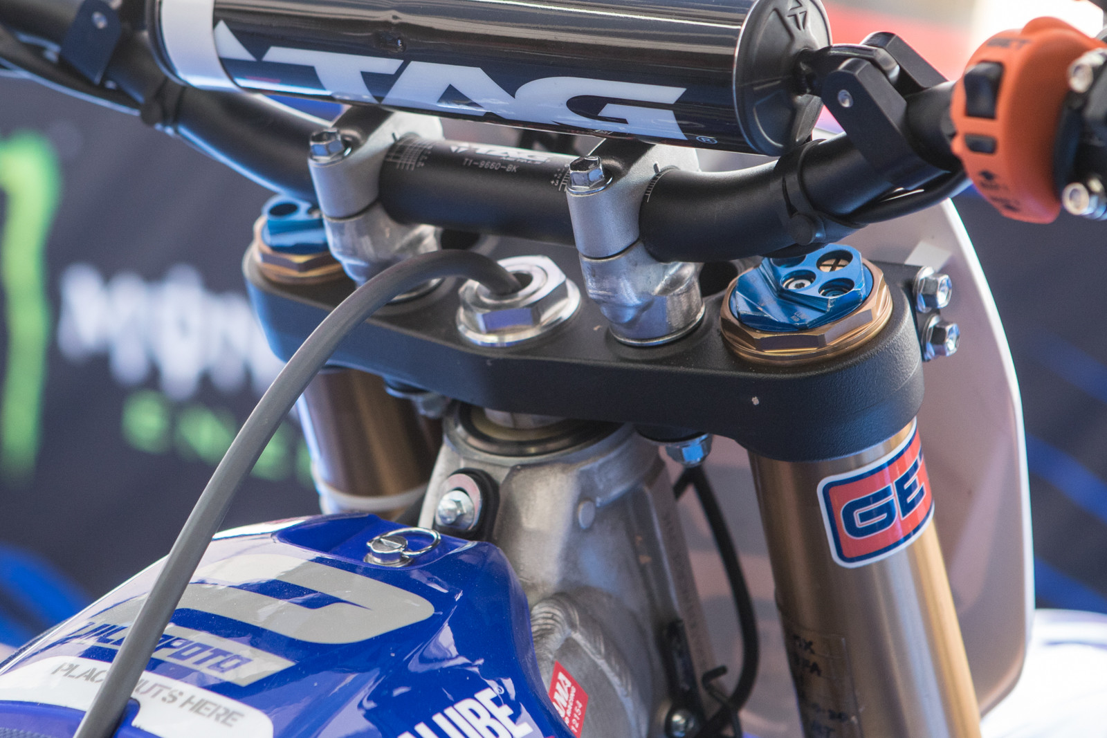 RV's YZ450F is fairly stock but he was loaned a set of works KYB suspension by the factory Yamaha team.
