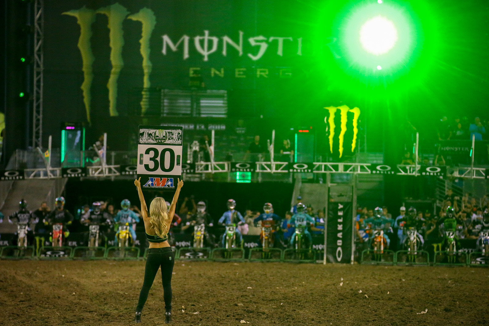 There's plenty of light, sound, and fury at the Monster Energy Cup.