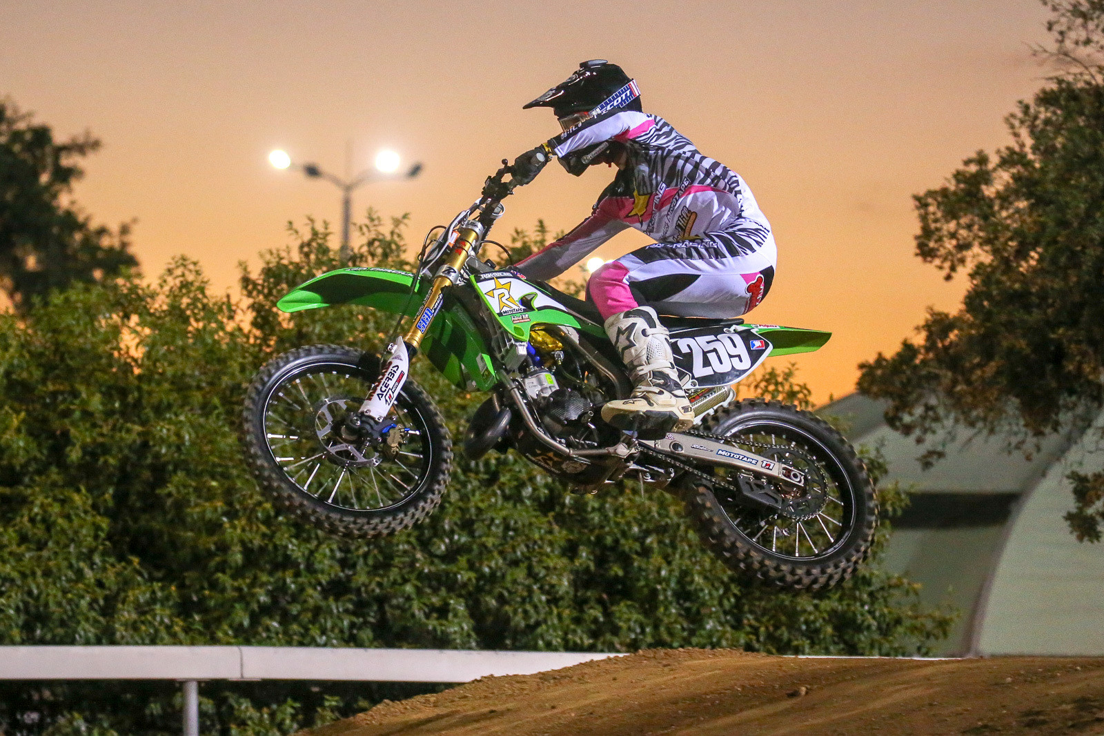 Besides the two-stroke action, there was also a serious throwback theme for the event. We had a tough time deciding who did it best, with the James Stewart-themed '04 KX125 that Spencer Luczak built up. AJ Catanzaro was on board and flying.