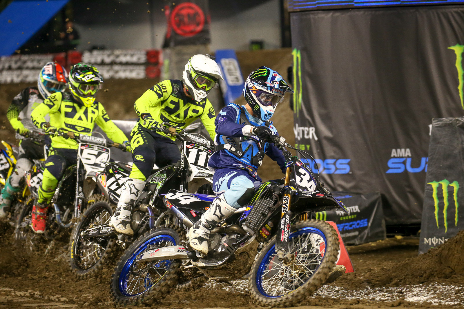 Once things got going, Dylan Ferrandis grabbed the holeshot and promptly hit the deck. In the mayhem me got his front brake cable ripped off, but he still came back to qualify.
