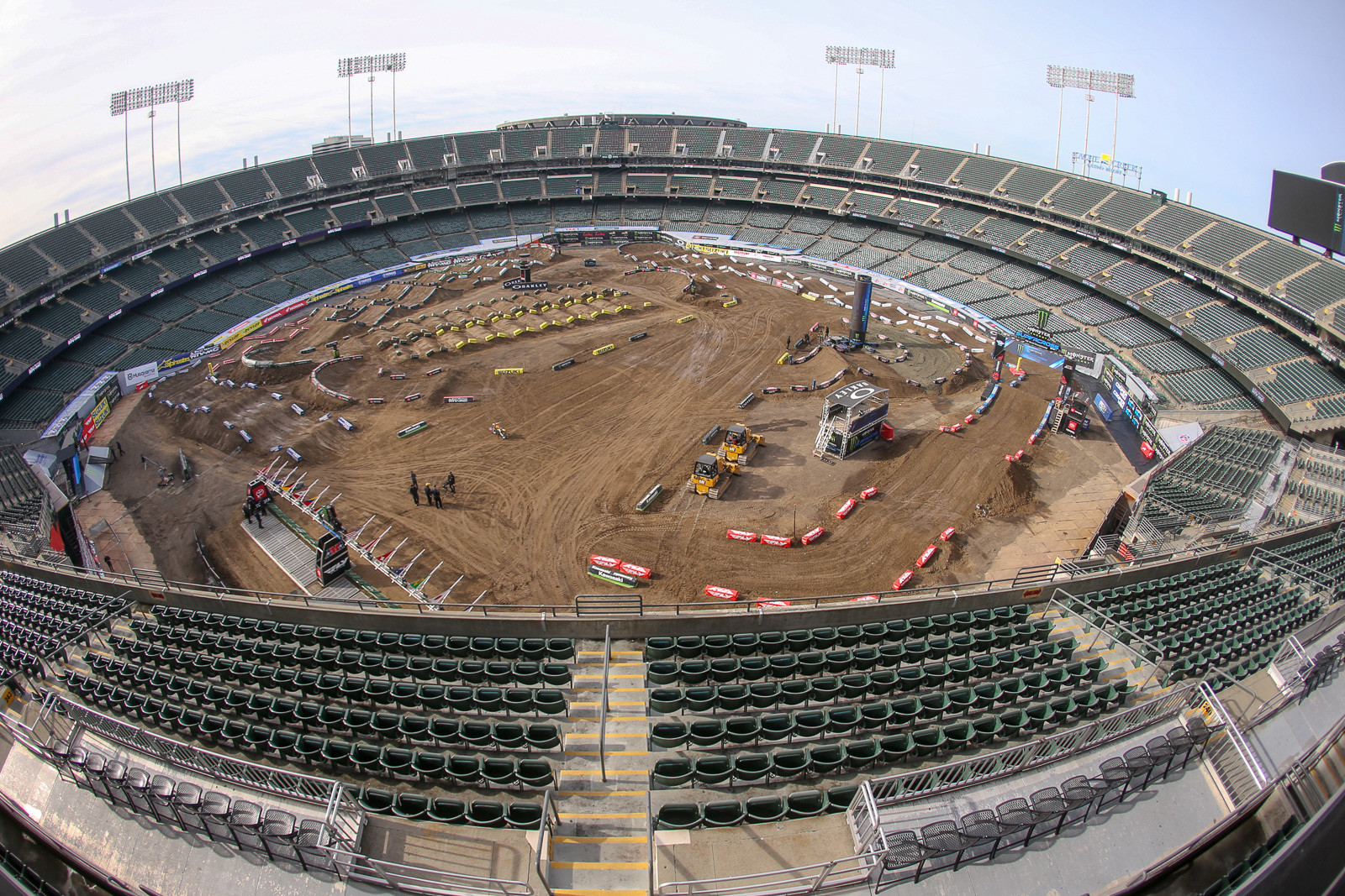 Welcome to Oakland. This one's a dual football/baseball stadium, so it's like a big bowl.