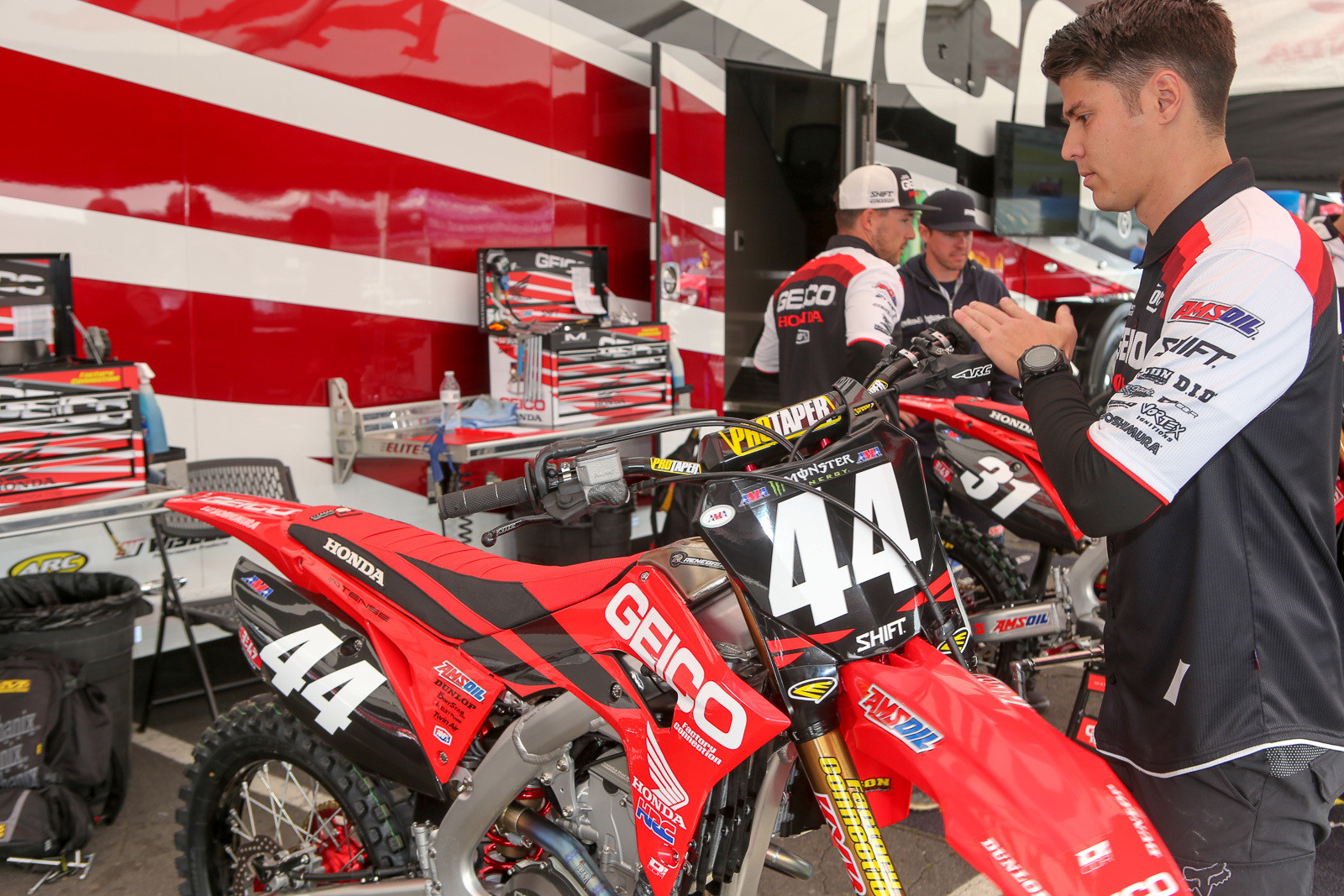 Ricki Rock is replacing Derik Dwyer for wrenching duties on Cameron McAdoo's bike. Derik and his wife are on maternity watch.