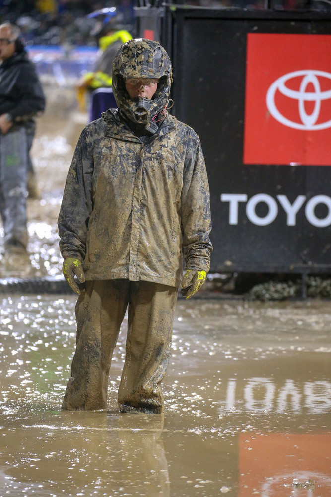 Join the Supercross crew, they said. It'll be fun, they said...The amount of standing water in the infield after the pre-race downpour? There were spots in there that were mid-shin deep.