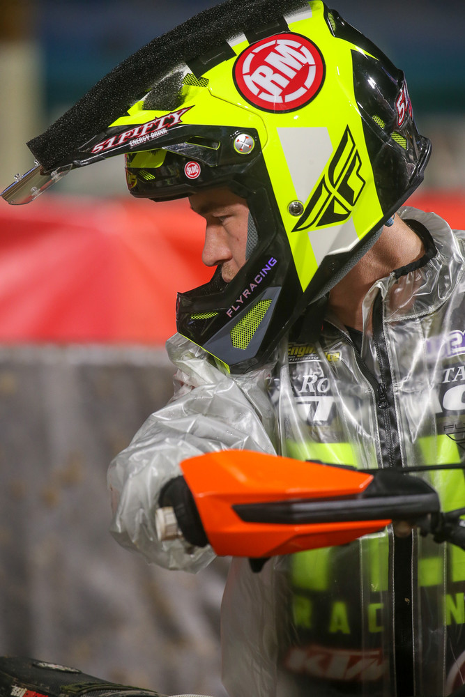 Riders did all they could to prep for the conditions, with foam, lenses taped to their visors, and tons of goggle tricks, but with all the standing water, it almost didn't matter. They were going to get blasted early, and it would be survival from that point on.