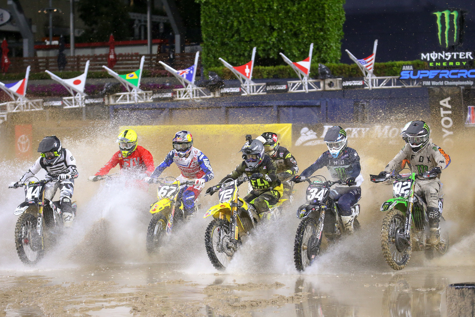 Whoa. This looks more like watercraft racing than Supercross. Every one of the heat races was a drag race to get to the standing water first. Martin Castelo and Dylan Ferrandis got their first in this heat.