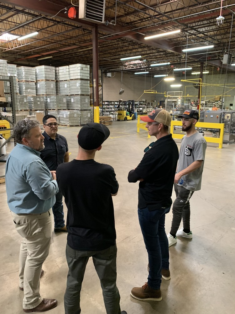 Since they were right around the corner, Blake Baggett, Justin Bogle, Michael Byrne, and Forrest Butler were given a tour of the facility and saw the Engine Ice Plastic Shine being made by Ian Englefield and Rene Jiminez of ABC Compounding.