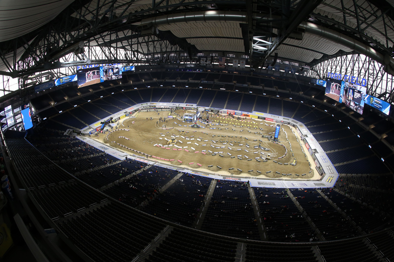 It's been a couple years since we were here in Detroit, and the biggest difference is that the track doesn't make the nod to the old days at the Silverdome, since there's no section of the track that goes into the stands.