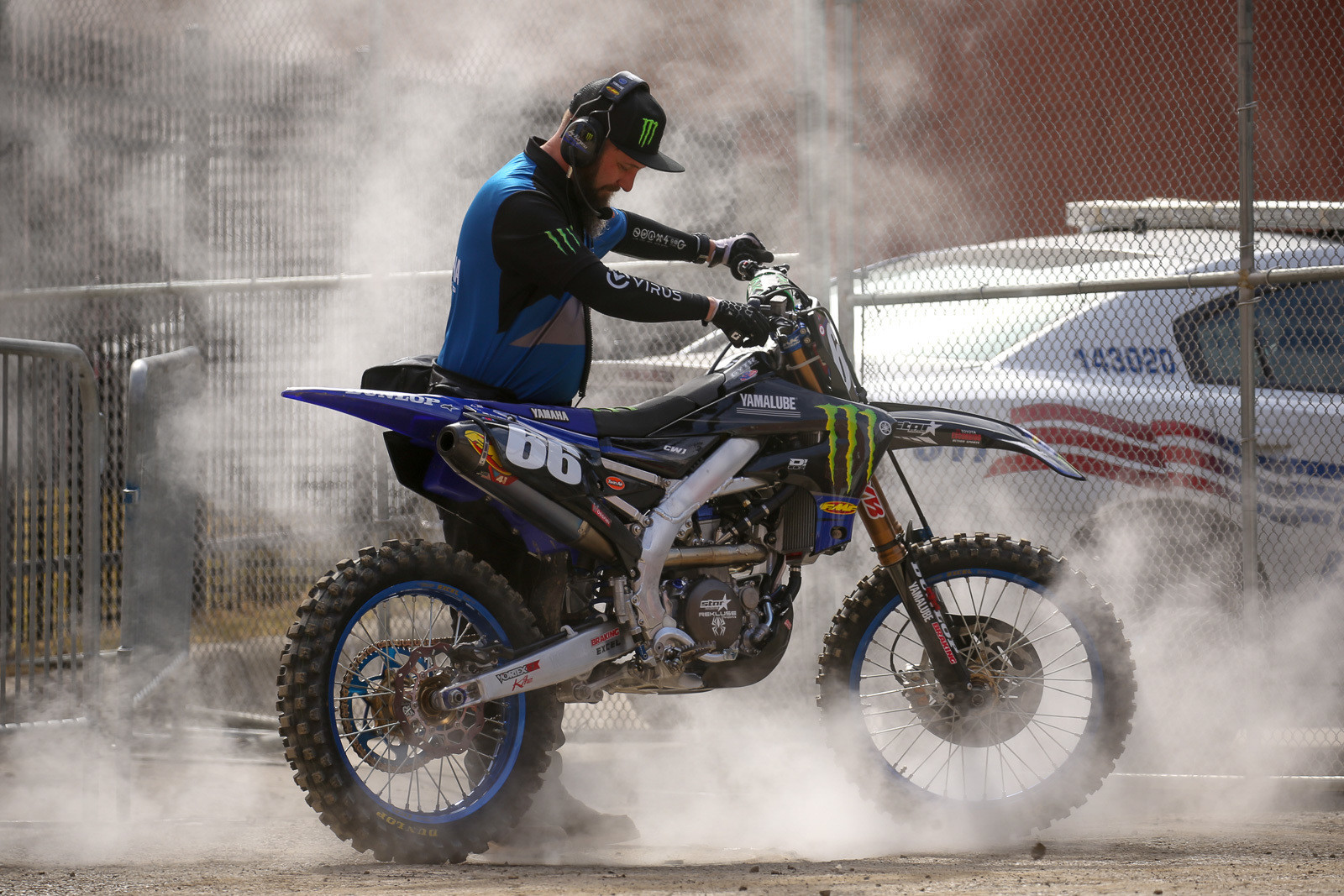 Jay Burgess taking advantage of one of the steaming manhole covers while warming up Mitchell Oldenburg's bike. He later said that it maybe wasn't the best idea, as it was pretty funky smelling.