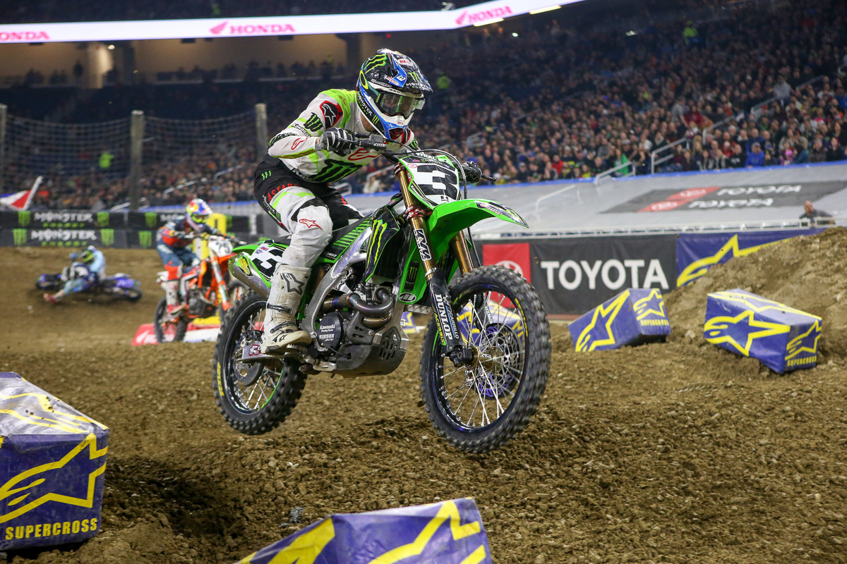 Remember that thing about needing a good start? Apparently not so much. According to the lap charts, Eli Tomac passed 10 riders during the 12-minute main to score the first 450 win of the night.