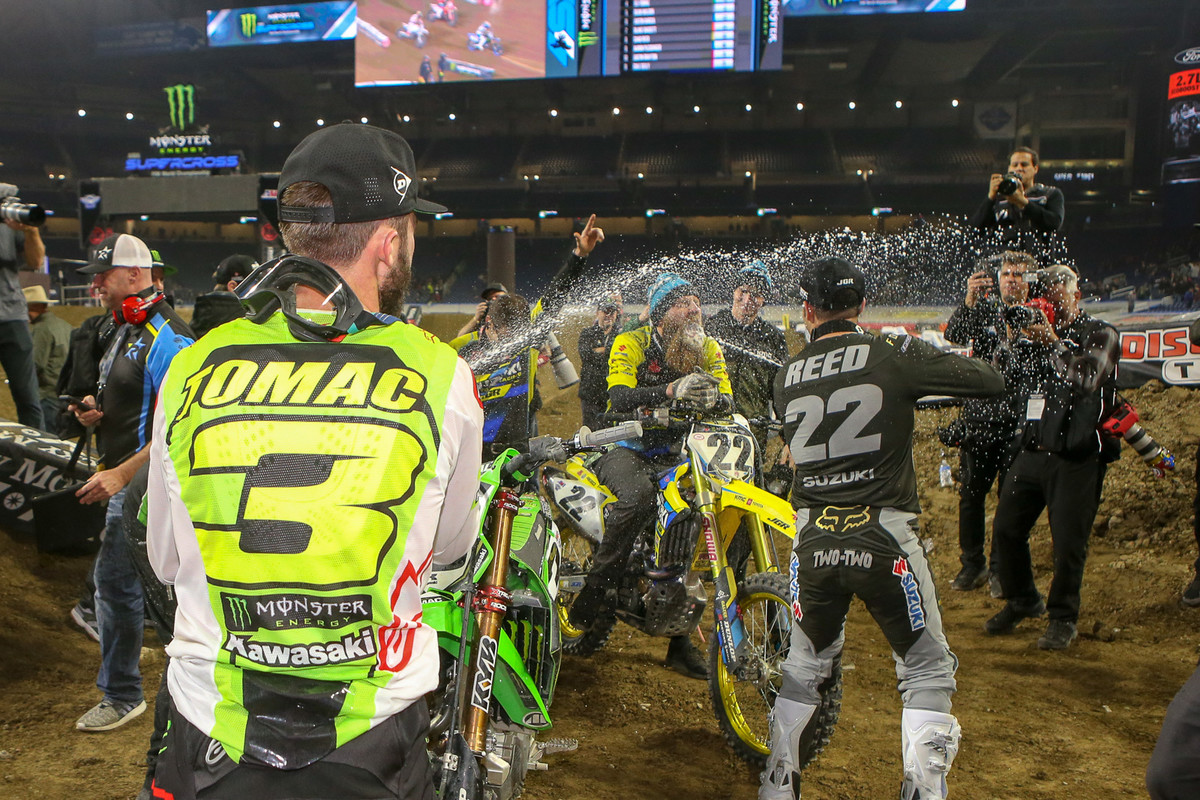 How about some champagne shenanigans? Both Eli Tomac and Cooper Webb gave Chad Reed an appreciative blast.